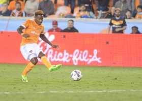 Houston Dynamo Forward Romell Quioto #12 During a match between the Houston Dynamo vs Seattle Sounders FC