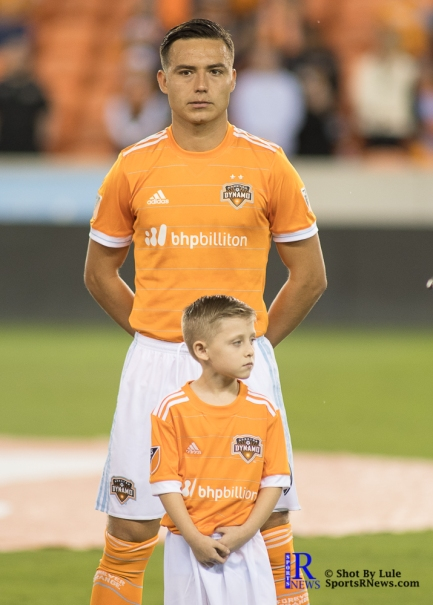 Houston Dynamo Forward Erick Torres #9 prio to a game between the Houston Dynamo and Columbus Crew SC, week 2 of the 2017 MLS season.The Dynamo would win by a score of 3-1