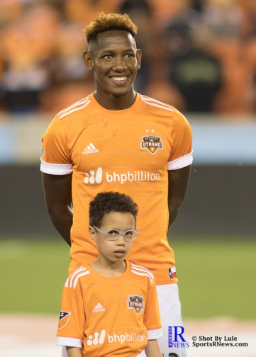 Houston Dynamo Forward Romell Quioto #12 Prior to a game between the Houston Dynamo and Columbus Crew SC, week 2 of the 2017 MLS season.
