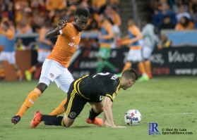 Houston Dynamo Forward Alberth Elis #17 During a game between the Houston Dynamo and Columbus Crew SC, week 2 of the 2017 MLS season.The Dynamo would win by a score of 3-1.
