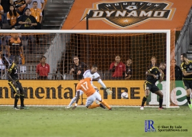 Houston Dynamo Forward Alberth Elis #17 scores on a corner kick in the first half of a game between the Houston Dynamo and Columbus Crew SC, week 2 of the 2017 MLS season.The Dynamo would win by a score of 3-1