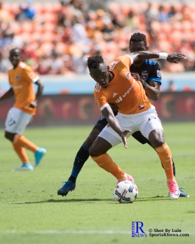 Houston Dynamo Forward Alberth Elis #17 During a match between the Houston Dynamo vs San Jose Earthquakes, Goals from Houston Dynamo Forward Erick Torres #9and Houston Dynamo Forward Alberth Elis #17 Would earn the dynamo a win by a score of 2 to 0.April 22,2017 BBVA Compass Stadium