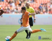 Houston Dynamo Forward Erick Torres #9 takes a free kick During a match between the Houston Dynamo vs San Jose Earthquakes, Goals from Houston Dynamo Forward Erick Torres #9and Houston Dynamo Forward Alberth Elis #17 Would earn the dynamo a win by a score of 2 to 0.April 22,2017 BBVA Compass Stadium