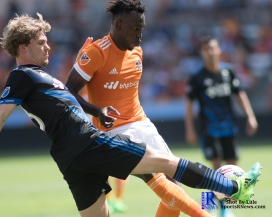 San Jose Earthquakes Midfielder Darwin Ceren #17 During a match between the Houston Dynamo vs San Jose Earthquakes, Goals from Houston Dynamo Forward Erick Torres #9and Houston Dynamo Forward Alberth Elis #17 Would earn the dynamo a win by a score of 2 to 0.April 22,2017 BBVA Compass Stadium