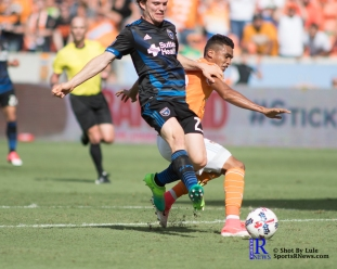 Houston Dynamo Forward Mauro Manotas #19 During a match between the Houston Dynamo vs San Jose Earthquakes, Goals from Houston Dynamo Forward Erick Torres #9and Houston Dynamo Forward Alberth Elis #17 Would earn the dynamo a win by a score of 2 to 0.April 22,2017 BBVA Compass Stadium
