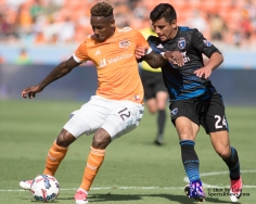 Houston Dynamo Forward Romell Quioto #12 San Jose Earthquakes Defender Nick Lima #24 Match between the Houston Dynamo vs San Jose Earthquakes, The Dynamo would win by a score of 2 April 22,2017 BBVA Compass Stadium.