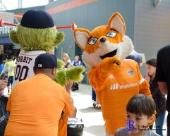 Diesel Celebrated his Birthday with Mascots from Houston Sports prior to the Match between the Houston Dynamo vs San Jose Earthquakes April 22,2017 BBVA Compass Stadium