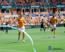 Houston Dynamo Forward Erick Torres #9 Celebrates after Scoring During a match between the Houston Dynamo vs San Jose Earthquakes, Goals from Houston Dynamo Forward Erick Torres #9and Houston Dynamo Forward Alberth Elis #17 Would earn the dynamo a win by a score of 2 to 0.April 22,2017 BBVA Compass Stadium