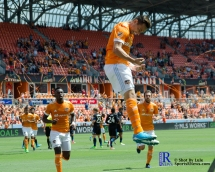 Houston Dynamo Forward Erick Torres #9 Celebrates During a match between the Houston Dynamo vs San Jose Earthquakes, Goals from Houston Dynamo Forward Erick Torres #9and Houston Dynamo Forward Alberth Elis #17 Would earn the dynamo a win by a score of 2 to 0.April 22,2017 BBVA Compass Stadium