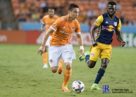 Houston Dynamo Forward Erick Torres #9 controles the ball During a Match between the Houston Dynamo vs The New York Red bulls April 1,2017 BBVA Compass Stadium
