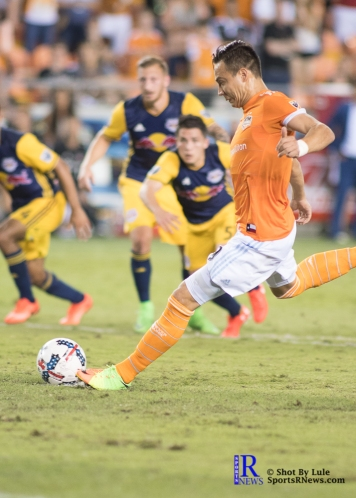 Houston Dynamo Forward Erick Torres #9 prepares to take a penalty kick During a Match between the Houston Dynamo vs The New York Red bulls April 1,2017 BBVA Compass Stadium