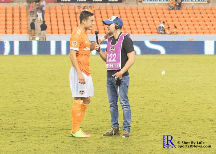 Houston Dynamo Forward Erick Torres #9 player of the its interviewed April 1,2017 BBVA Compass Stadium