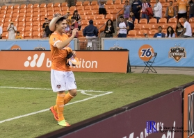 Houston Dynamo Forward Erick Torres #9 interacts with fans after the Match between the Houston Dynamo vs The New York Red bulls April 1,2017 BBVA Compass Stadium