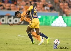 Houston Dynamo Defender A.J. DelaGarza #20 During a Match between the Houston Dynamo vs The New York Red bulls April 1,2017 BBVA Compass Stadium