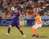 Orlando City Soccer Club Midfielder Luis Gil #17 dribbles the ball During a match between the Houston Dynamo vs Orlando City SC,Week 10 of the MLS.Houston Tx.2017