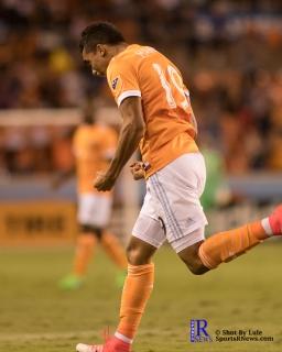 Houston Dynamo Forward Mauro Manotas #19 celebrates after scoring During a match between the Houston Dynamo vs Orlando City SC,Week 10 of the MLS.Houston Tx.2017