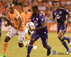 Orlando City Soccer Club Midfielder Carlos Rivas #11 During a match between the Houston Dynamo vs Orlando City SC,Week 10 of the MLS.Houston Tx.2017