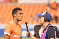 Houston Dynamo Forward Mauro Manotas #19 player of the march interviews after a match between the Houston Dynamo vs Orlando City SC,Week 10 of the MLS.Houston Tx.2017