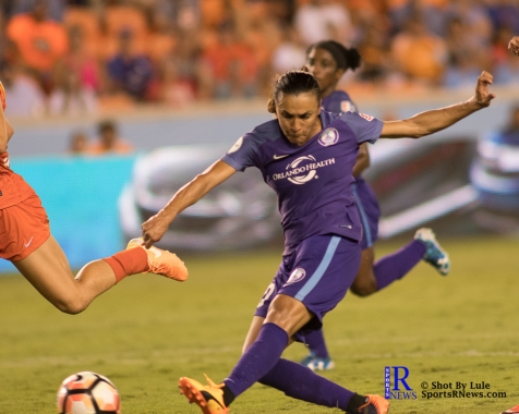Orlando Pride Forward Marta #10 scores a goal number two During a match between the Houston Dash vs Orlando Pride Final Score Dash 2,Orlando 4 ,Houston Tx, 2017.