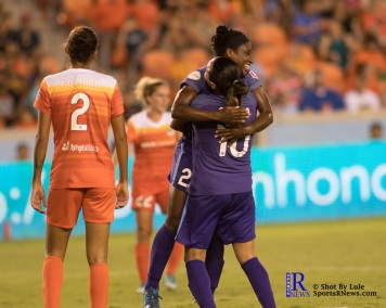 Orlando Pride Forward Marta #10 celebrates after scoring During a match between the Houston Dash vs Orlando Pride Final Score Dash 2,Orlando 4 ,Houston Tx, 2017.