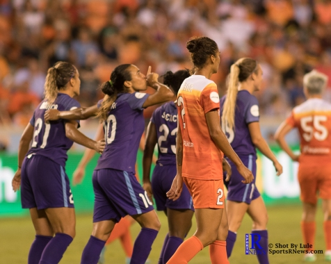 Orlando Pride Forward Marta #10 after scoring During a match between the Houston Dash vs Orlando Pride Final Score Dash 2,Orlando 4 ,Houston Tx, 2017.