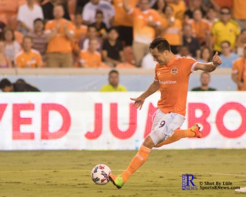 Houston Dynamo Forward Erick Torres #9 scores a goal During a match between the Houston Dynamo vs Dallas FC,June 23,2017 Houston Tx.