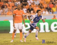 F.C Dallas Forward Maximiliano Urruti #37 celebrates as Houston Dynamo Midfielder Ricardo Clark #13 looks mad after dallas ties the match between the Houston Dynamo vs Dallas FC,June 23,2017 Houston Tx.