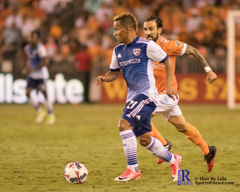 F.C Dallas Midfielder/Forward Michael Barrios #21 controls the ball During a match between the Houston Dynamo vs Dallas FC,June 23,2017 Houston Tx.
